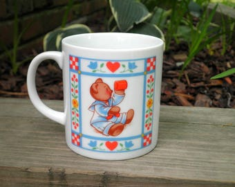Vintage Teddy Bear Coffee Cup / Mug - Retro 80s Collectible Butterfield Bear Ceramic Bears Mug - Boy & Girl Baby Bear Animal Lover Gift