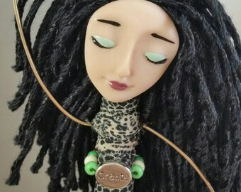 Chime Doll - Create - Charm - ooak - art doll - beaded doll - brass bells - cream - green - white - animal print - black - chimes - silver