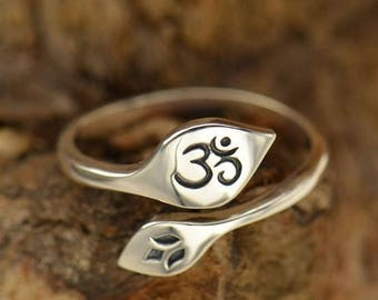 ON SALE TODAY Om and Lotus Flower Ring - Adjustable - Sterling Silver