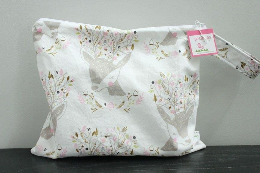Wet Bag Wetbag Diaper ICKY Proof Fawn Deer Gym Swim Cloth Accessories Zipper Gift Newborn Baby Kids Beach