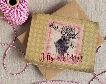 rustic moose Christmas greeting card - jolly holidays - woodland Christmas card - moose holiday card - argyle Christmas -  kraft holiday