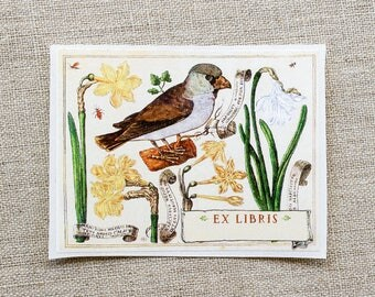 botanical book plates - bird custom bookplate stickers - ex libris - personalized bookplates - gift for book lovers - gift under 20 - floral