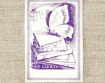 lavender butterfly bookplates - bookplate stickers - custom bookplates - ex libris - personalized gift- bookworm for her - book plates