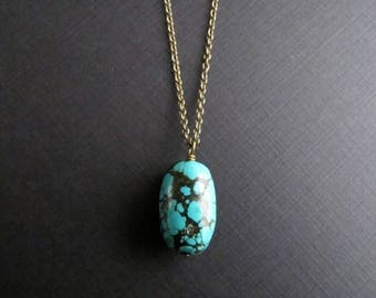 ON SALE Turquoise Pendant Necklace, Simple Brass Boho Necklace