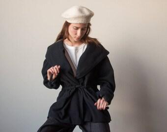 black hooded wool parka coat / minimalist coat / simple short wool coat / s / 2154o / R5
