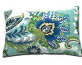 Decorative Lumbar Pillow Cover Blue Green Yellow White Floral Design Same Fabric Front/Back Toss Throw Accent 12x18 inch x