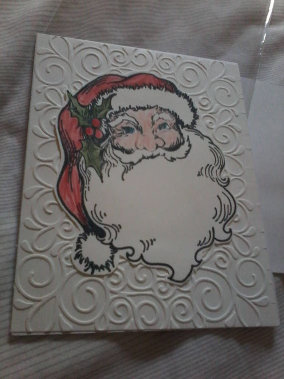 Santa Card with Emboss background