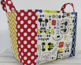 Patchwork - Medium Size Storage Organization Fabric Basket Container Organizer Bin - Nursery Decor- Mickey Mouse Fabric Dots Chevrons
