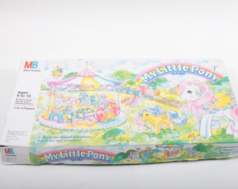 My Little Pony Game, Milton Bradley, Vintage, Board Game, 2 to 4 players, Merry Go Round, Fun, Kids, Activity ~ The Pink Room ~ 170312