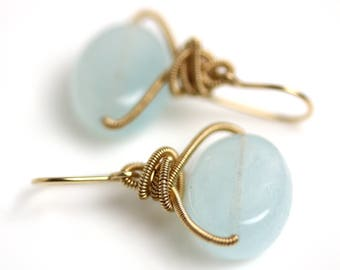 Aquamarine Earrings with Gold Fill Coils