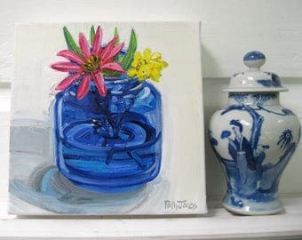Coneflower in a Cobalt Jar orginal acrylic still life painting by Polly Jones