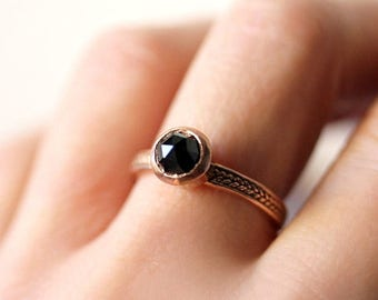 Rose cut engagement ring, black spinel ring, rose gold engagement ring, gold braided ring, wheat, ethical engagement, ready to ship sz 7