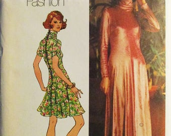 1970s Vintage Sewing Pattern Simplicity 5184 Misses Dress Pattern Size 12 Bust 34