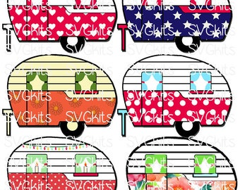 Retro Camper Year Round Possibility SVG cut file Happy Camper or Happy Campers WELCOME text Cricut Silhouette Felt Vinyl. HTV Vinyl Layers