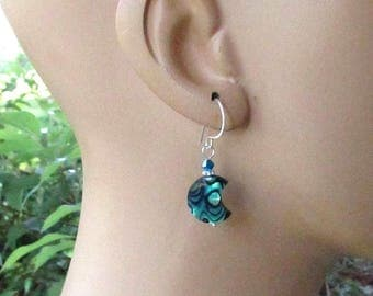 Abalone Crescent Moon Earrings, Swarovski Crystals, Handmade Silver Earwires, Peacock Blue Paua Shell Jewelry