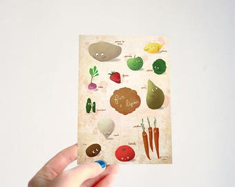 Veggies, fruits and vegetables with french names - illustrated postcard