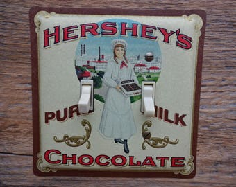 Country Primitive Decor Old Lighting Light Switch Cover Plate Double Switchplate Made From A Famous Brand Chocolate Advertising Tin SP-0082