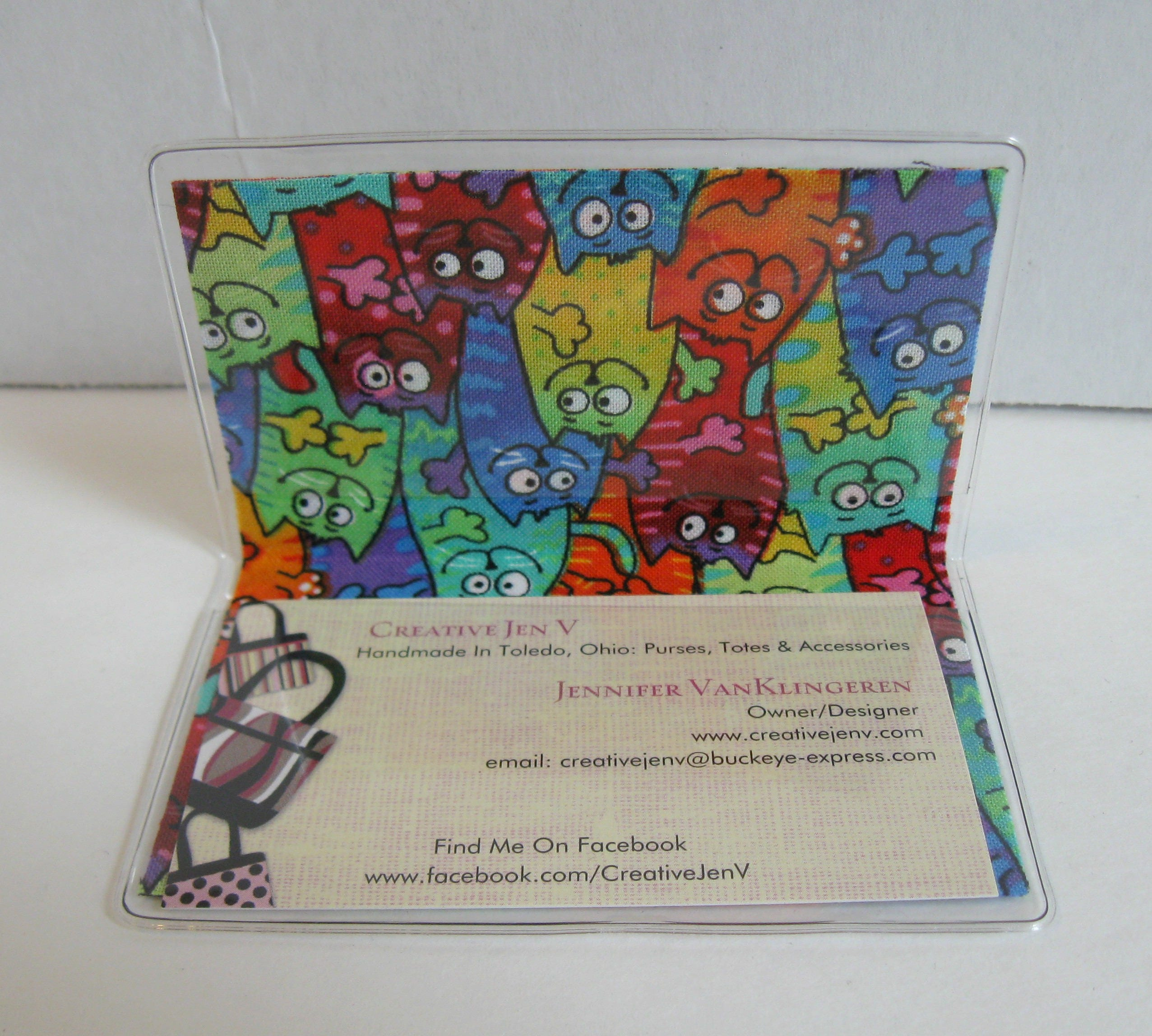 Cat Business Card Holder - Cats Gift Card Holder - Vinyl Mini Wallet ...