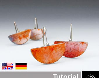 """Polymer Clay PDF Tutorial """"Earrings with Silver Leafing"""""""