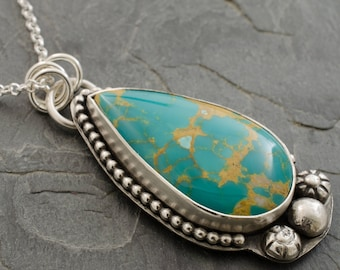 Turquoise Pendant. Royston Turquoise Necklace. Silver Turquoise Necklace. December Birthstone. Gemstone Pendant. Birthstone Jewelry.