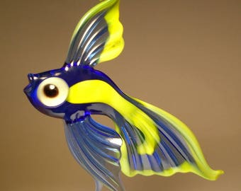 Handmade Blown Glass Art Figurine Blue and Yellow Hanging Telescope Fish Ornament