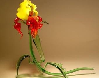 Handmade Blown Glass Art Figurine Red and Yellow Flower IRIS Figurine