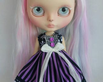 Skulls and Stripes dress for Blythe and Pullip