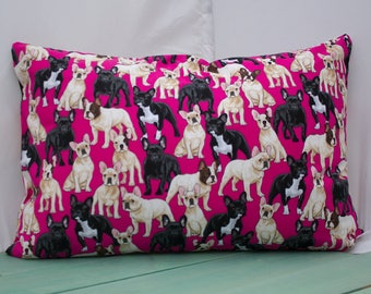 Hot Pink Dog Pillowcase - fits 13 x 18 Travel or Toddler Pillow