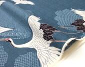 Japanese Fabric Cranes dobby - blue - 50cm