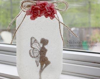 Quart Sized Fairy Jar Lantern Standing Pose Pink Flower No. 12
