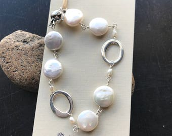 Sterling silver and Freshwater coin Pearl bracelet, Swarovski crystal clasp