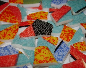 Mosaic Tiles- Kaleidoscope Glass Tiles Beautiful Colors -Vintage - Broken Plate Tesseraes