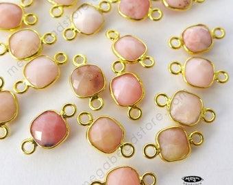 4 pcs Tiny 6mm Square Pink Opal Natural Gold Bezel Connector F422