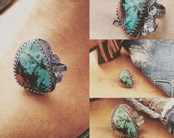 Chrysocolla Red Blue Stone, Sterling Silver Boho Floral Chunky Ring - Size 6.5