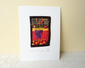 Heart Flowers - Hand Sewn Textile Appliqué Picture
