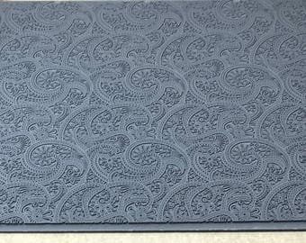 EASTERN PAISLEY  Embossed Rubber Texture Tile Mat Stamp for Clay inks Ceramics Paint Soap  MGT528