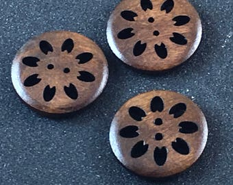 Wood Wooden Lacey Openwork Brown Button Buttons  C5
