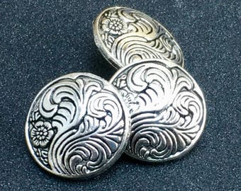 FEATHER SWIRL Embossed Unique Domed Antique Silver Dimensional Buttons  F29