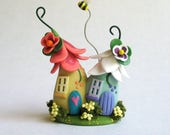 Miniature  Sweetheart Fairy Blossom House Pair with Bee  OOAK by C. Rohal