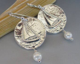 Fine Silver Sailboat Ivory Freshwater Pearl Sterling Silver Earrings