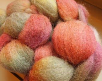 Handdyed Roving Wool Spinning Felting 3.0oz Corriedale Cross Handspinning Felting Fiber Aspenmoonarts G8 Autumn Sage Rust Terracotta