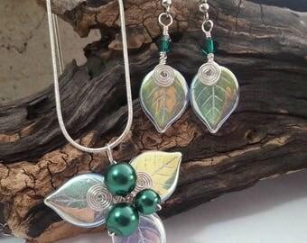 ON SALE Emerald Green Fairy Jewelry Set Necklace Earrings - Irish Boho Fairytale Celtic Wedding