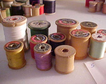 lot of 12 vintage Wooden Sewing Spools #5