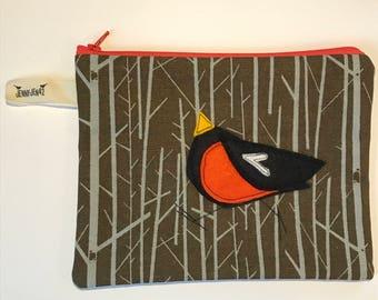 Swan Felt Appliqué large zipper pouch, organic cotton canvas, lined, gift idea