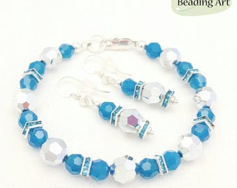 Sparkly jewelry, teal bracelet earrings set, crystal jewelry set, Swarovski crystal bracelet, teal jewelry set, teal earrings, crystal bead