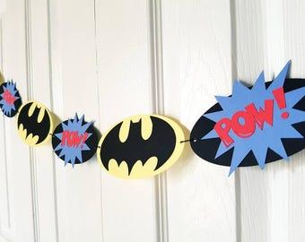 Batman Garland, Batman Bunting, Batman Banner, Batman Birthday Party, Batman Baby Shower, Room Nursery Decor, READY TO SHIP
