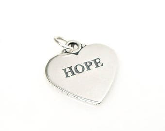SALE Hope Heart Sterling Silver Pendant Charm Customize no. 2107