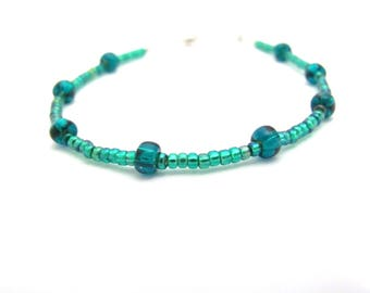 Dainty Beaded Bracelet, Ocean Blue Green, Seed Bead Jewelry, friendship bracelet, seed bead bracelet, holiday gift teen tween girl woman