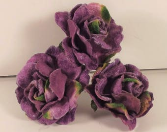 Velvet Roses Purple Weddings Millinery Fascintator Corsages Bridesmaids Flower Girl Costumes Dolls Boutineers 3 in Bunch 1.75 inches