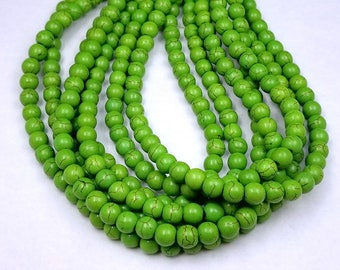 50 Green Howlite Beads 8MM (H7088)